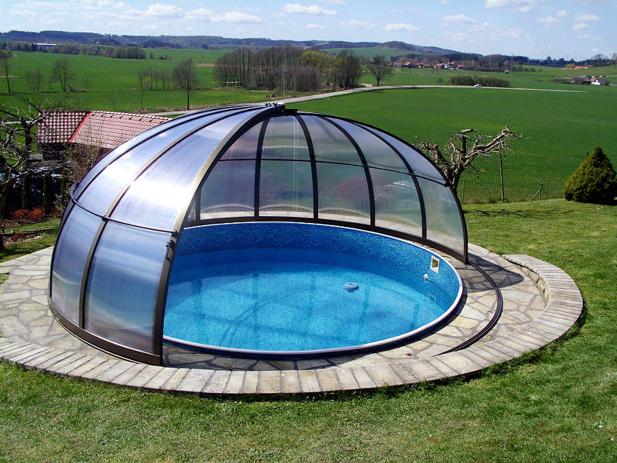 Swimming pool enclosures telescopic retractable for Swimming pool enclosures cost